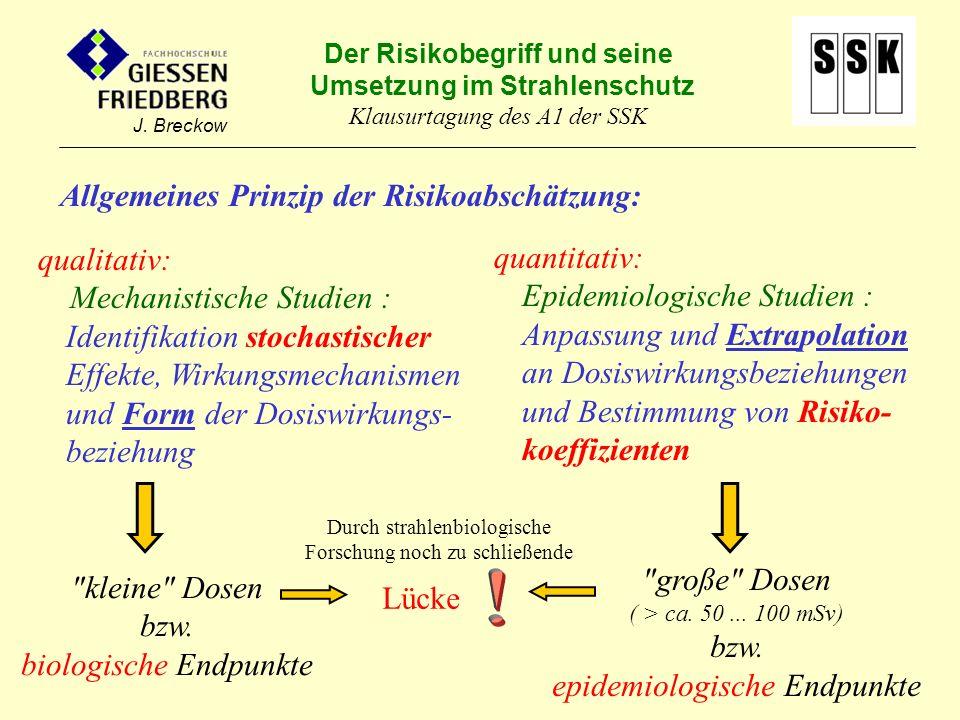 Der Risikobegriff und seine Umsetzung im Strahlenschutz Klausurtagung des A1 der SSK J. Breckow Allgemeines Prinzip der Risikoabschätzung: quantitativ