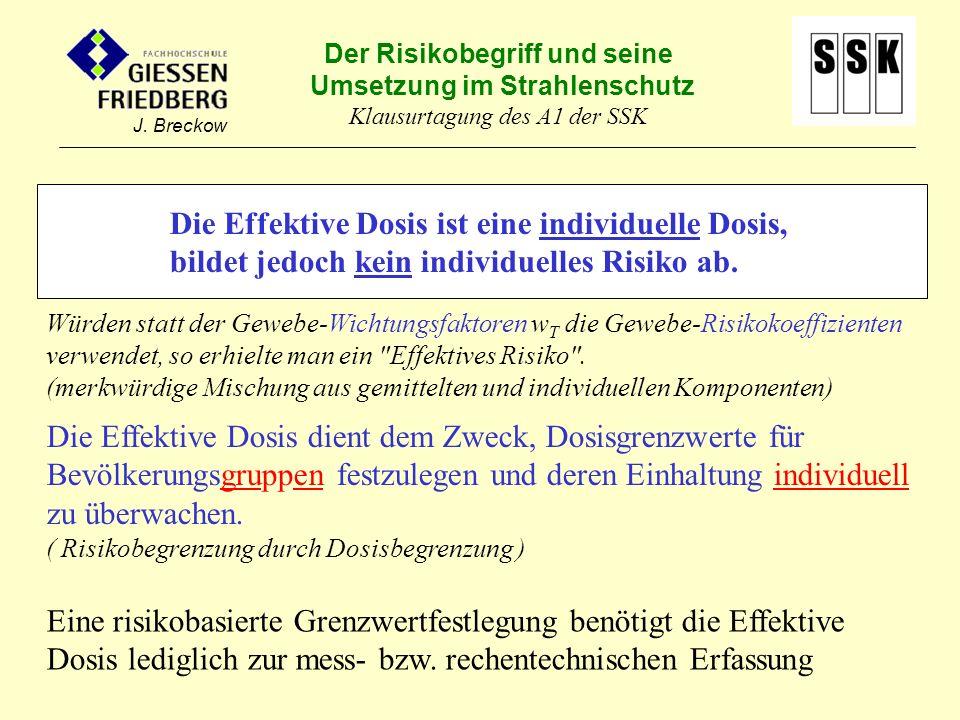 Der Risikobegriff und seine Umsetzung im Strahlenschutz Klausurtagung des A1 der SSK J. Breckow Die Effektive Dosis ist eine individuelle Dosis, bilde