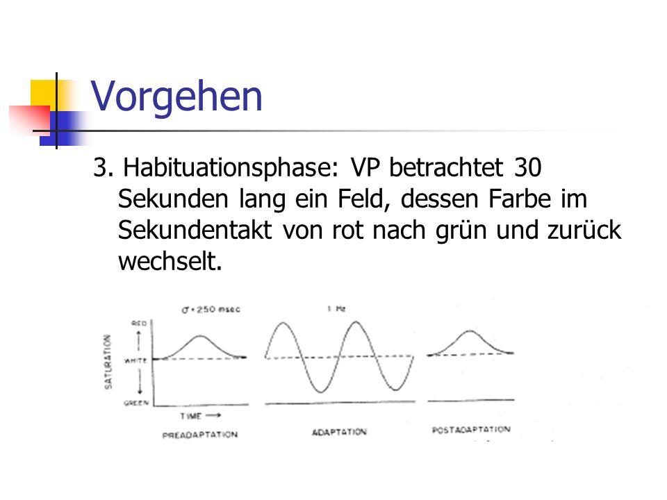 Vorgehen 3. Habituationsphase: VP betrachtet 30 Sekunden lang ein Feld, dessen Farbe im Sekundentakt von rot nach grün und zurück wechselt.