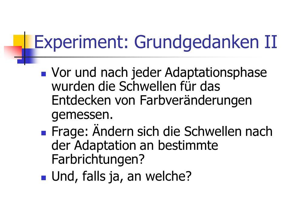 Experiment: Grundgedanken II Vor und nach jeder Adaptationsphase wurden die Schwellen für das Entdecken von Farbveränderungen gemessen. Frage: Ändern