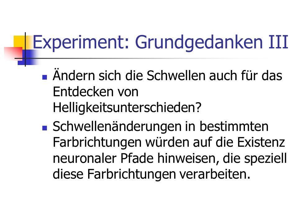 Experiment: Grundgedanken III Ändern sich die Schwellen auch für das Entdecken von Helligkeitsunterschieden? Schwellenänderungen in bestimmten Farbric