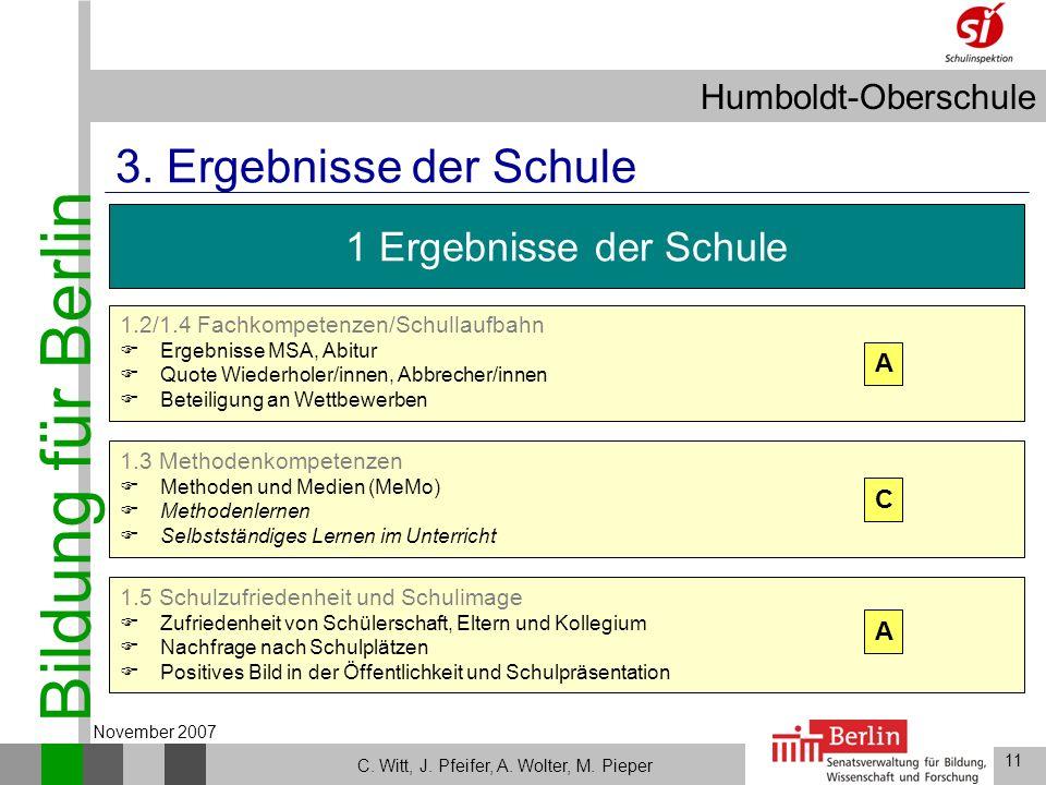 Bildung für Berlin Humboldt-Oberschule 11 C. Witt, J. Pfeifer, A. Wolter, M. Pieper November 2007 1.5 Schulzufriedenheit und Schulimage Zufriedenheit