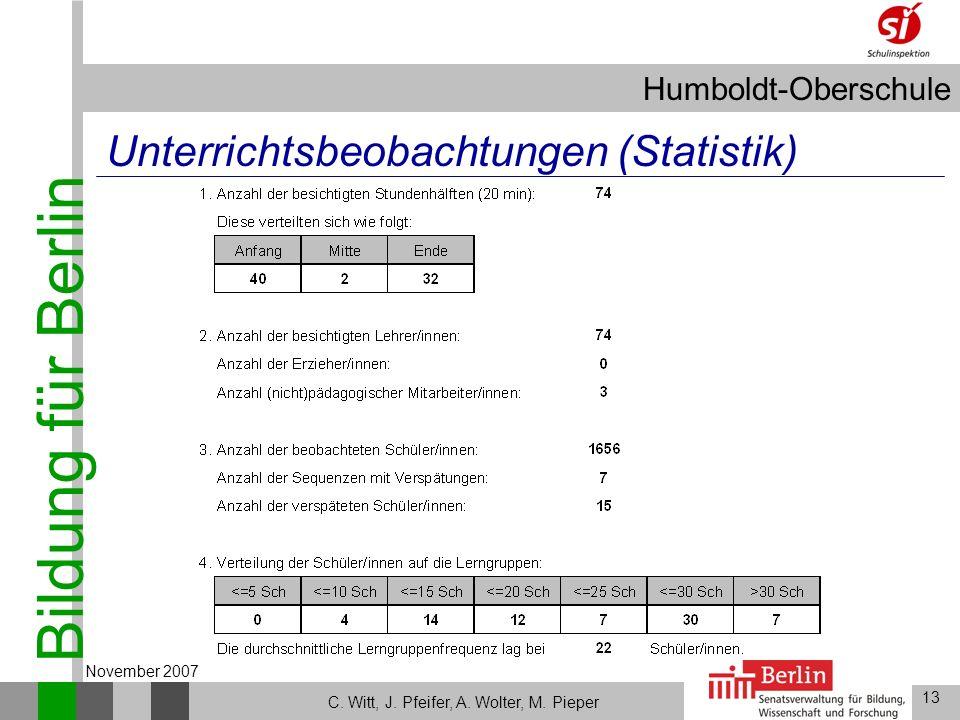 Bildung für Berlin Humboldt-Oberschule 13 C. Witt, J. Pfeifer, A. Wolter, M. Pieper November 2007 Unterrichtsbeobachtungen (Statistik)