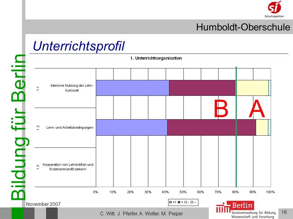 Bildung für Berlin Humboldt-Oberschule 16 C. Witt, J. Pfeifer, A. Wolter, M. Pieper November 2007 Unterrichtsprofil AB