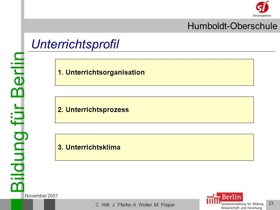 Bildung für Berlin Humboldt-Oberschule 21 C. Witt, J. Pfeifer, A. Wolter, M. Pieper November 2007 Unterrichtsprofil 2. Unterrichtsprozess 3. Unterrich