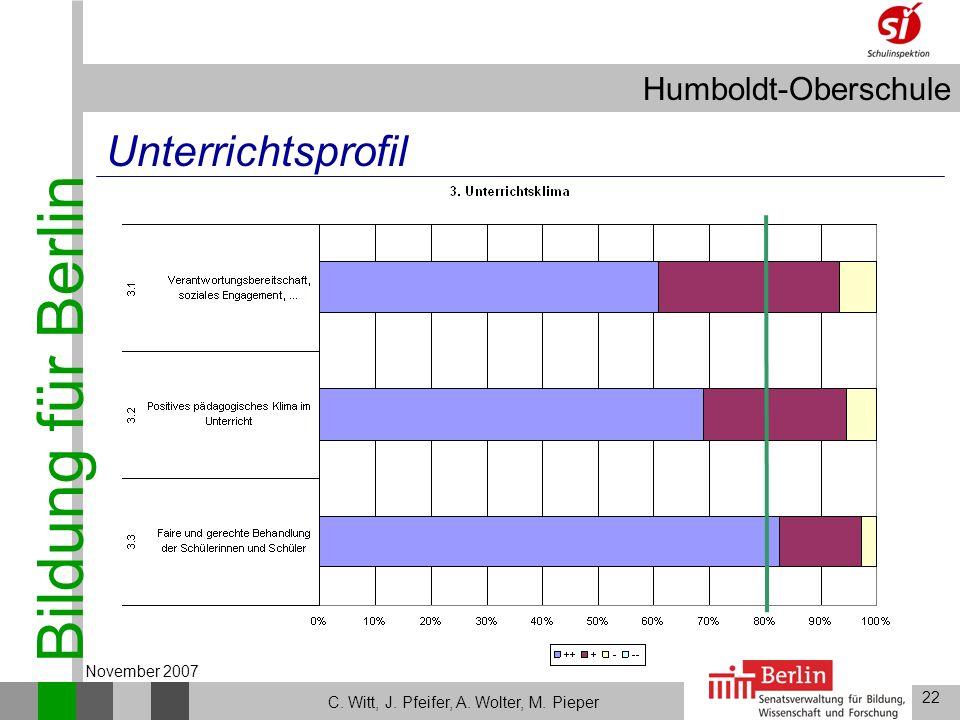 Bildung für Berlin Humboldt-Oberschule 22 C. Witt, J. Pfeifer, A. Wolter, M. Pieper November 2007 Unterrichtsprofil