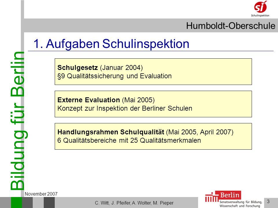 Bildung für Berlin Humboldt-Oberschule 3 C. Witt, J. Pfeifer, A. Wolter, M. Pieper November 2007 Externe Evaluation (Mai 2005) Konzept zur Inspektion