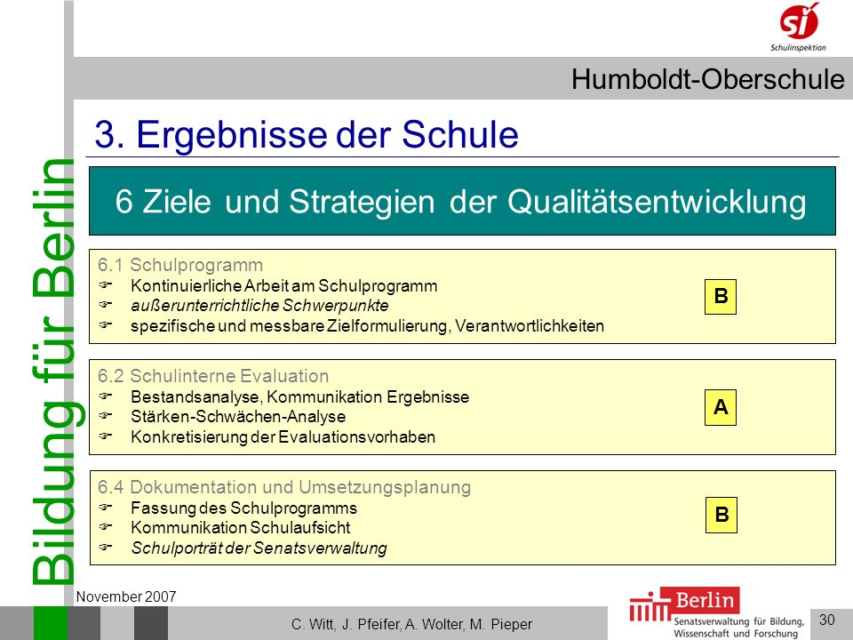 Bildung für Berlin Humboldt-Oberschule 30 C. Witt, J. Pfeifer, A. Wolter, M. Pieper November 2007 6.2 Schulinterne Evaluation Bestandsanalyse, Kommuni