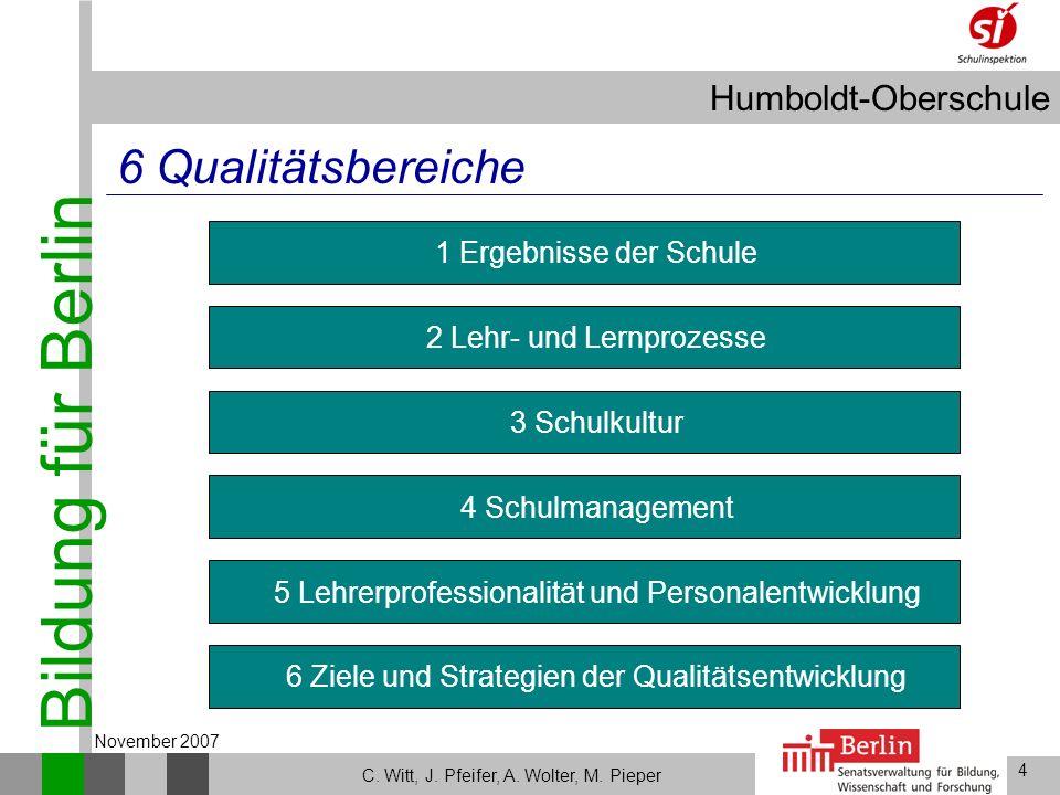 Bildung für Berlin Humboldt-Oberschule 4 C. Witt, J. Pfeifer, A. Wolter, M. Pieper November 2007 Lehrerprofessionalität und Personalentwicklung Ziele