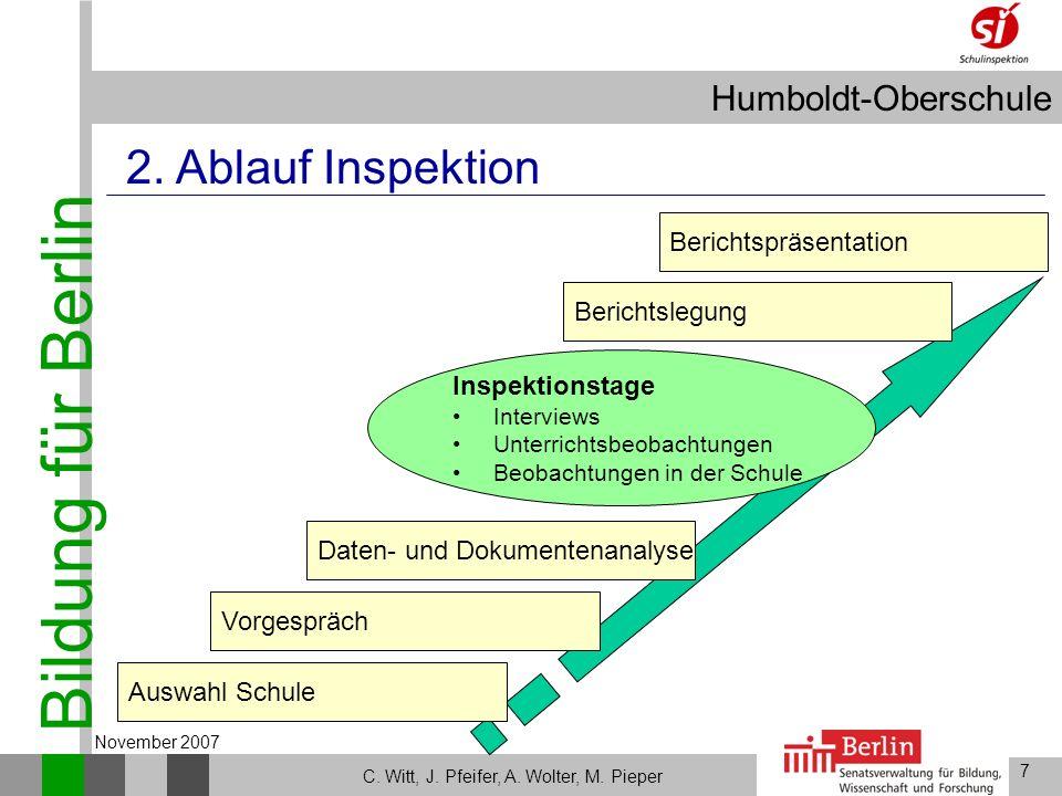 Bildung für Berlin Humboldt-Oberschule 7 C. Witt, J. Pfeifer, A. Wolter, M. Pieper November 2007 Auswahl Schule 2. Ablauf Inspektion Vorgespräch Beric