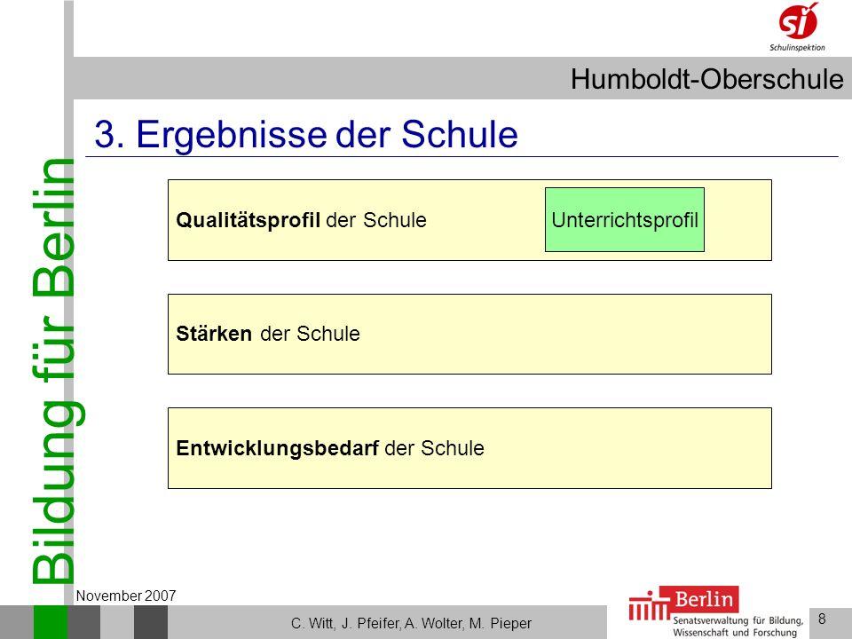Bildung für Berlin Humboldt-Oberschule 8 C. Witt, J. Pfeifer, A. Wolter, M. Pieper November 2007 Stärken der Schule Entwicklungsbedarf der Schule Qual
