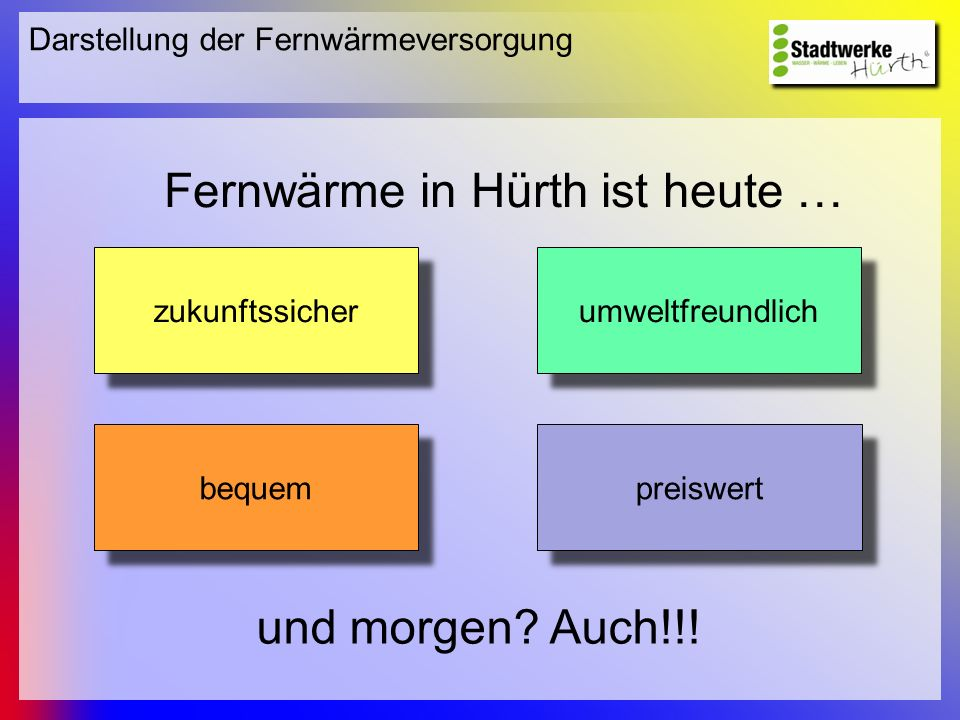 Darstellung der Fernwärmeversorgung Fernwärme in Hürth ist heute … zukunftssicher umweltfreundlich bequem preiswert und morgen? Auch!!!