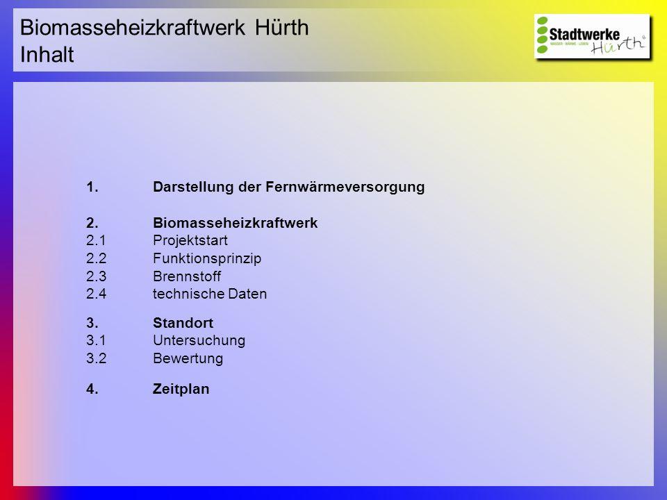 Biomasseheizkraftwerk Hürth Inhalt 1.Darstellung der Fernwärmeversorgung 2.Biomasseheizkraftwerk 2.1Projektstart 2.2Funktionsprinzip 2.3Brennstoff 2.4