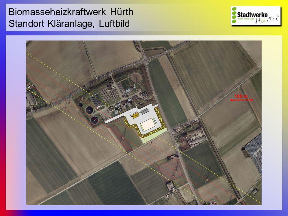 Biomasseheizkraftwerk Hürth Standort Kläranlage, Luftbild 100 m