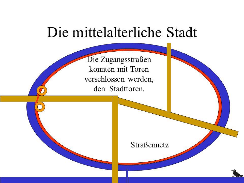 Die mittelalterliche Stadt Straßennetz Die Zugangsstraßen konnten mit Toren verschlossen werden, den Stadttoren.