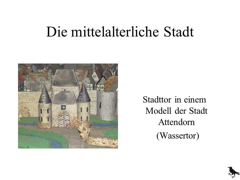 Die mittelalterliche Stadt Stadttor in einem Modell der Stadt Attendorn (Wassertor)