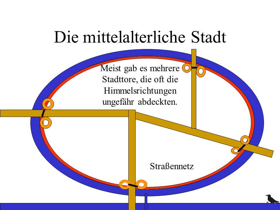 Die mittelalterliche Stadt Straßennetz Meist gab es mehrere Stadttore, die oft die Himmelsrichtungen ungefähr abdeckten.