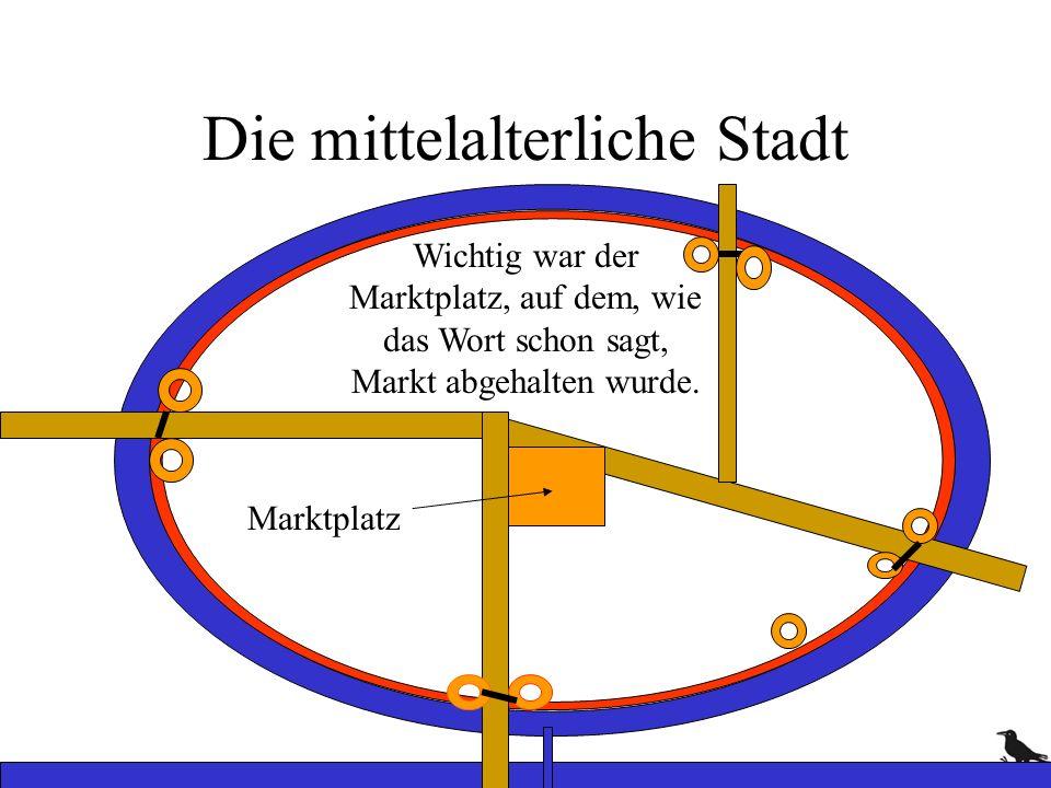 Die mittelalterliche Stadt Wichtig war der Marktplatz, auf dem, wie das Wort schon sagt, Markt abgehalten wurde. Marktplatz