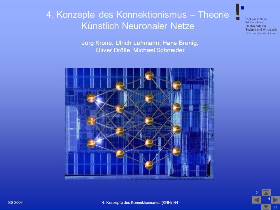 SS 2006 2 41 1 4. Konzepte des Konnektionismus (KNN) R4 4. Konzepte des Konnektionismus – Theorie Künstlich Neuronaler Netze Jörg Krone, Ulrich Lehman