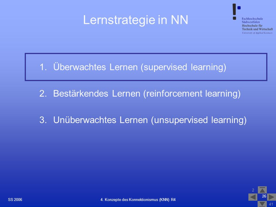SS 2006 2 41 26 4. Konzepte des Konnektionismus (KNN) R4 Lernstrategie in NN 1.Überwachtes Lernen (supervised learning) 2.Bestärkendes Lernen (reinfor