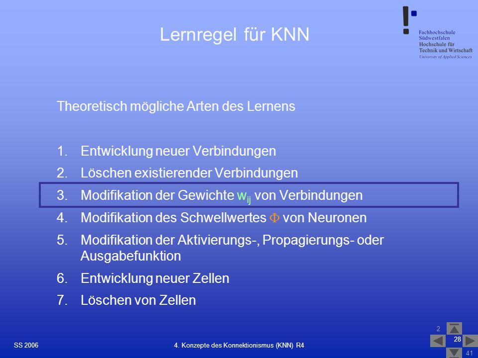 SS 2006 2 41 28 4. Konzepte des Konnektionismus (KNN) R4 Lernregel für KNN Theoretisch mögliche Arten des Lernens 1.Entwicklung neuer Verbindungen 2.L