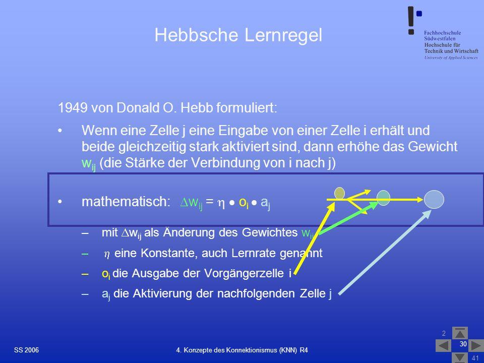 SS 2006 2 41 30 4. Konzepte des Konnektionismus (KNN) R4 Hebbsche Lernregel 1949 von Donald O. Hebb formuliert: Wenn eine Zelle j eine Eingabe von ein