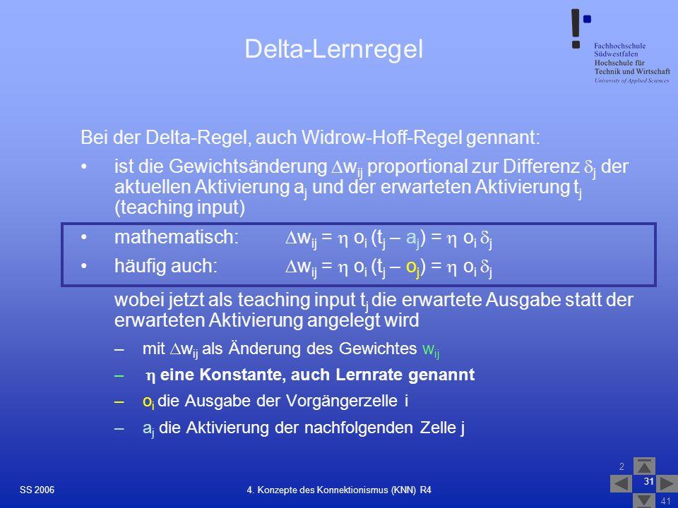 SS 2006 2 41 31 4. Konzepte des Konnektionismus (KNN) R4 Delta-Lernregel Bei der Delta-Regel, auch Widrow-Hoff-Regel gennant: ist die Gewichtsänderung