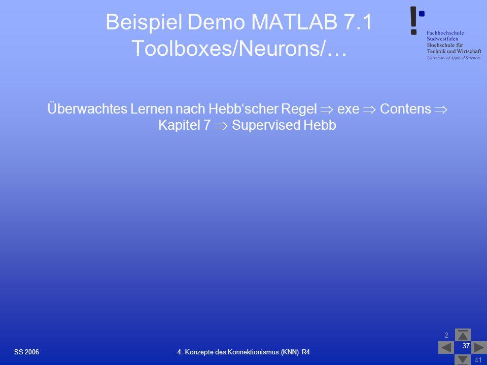 SS 2006 2 41 37 4. Konzepte des Konnektionismus (KNN) R4 Beispiel Demo MATLAB 7.1 Toolboxes/Neurons/… Überwachtes Lernen nach Hebbscher Regel exe Cont