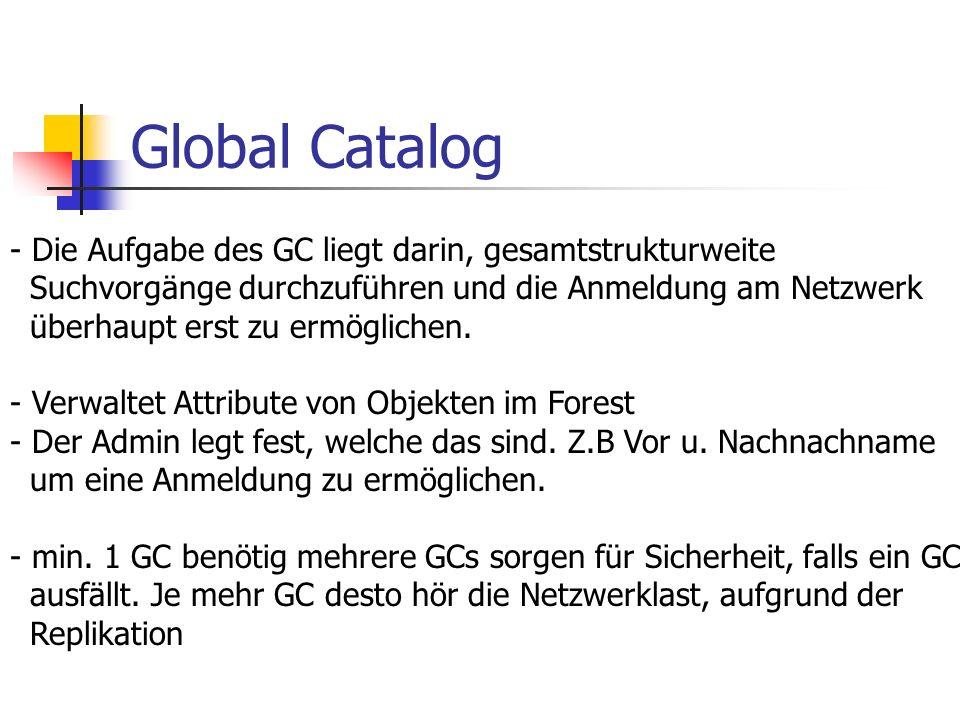 Global Catalog - Die Aufgabe des GC liegt darin, gesamtstrukturweite Suchvorgänge durchzuführen und die Anmeldung am Netzwerk überhaupt erst zu ermögl