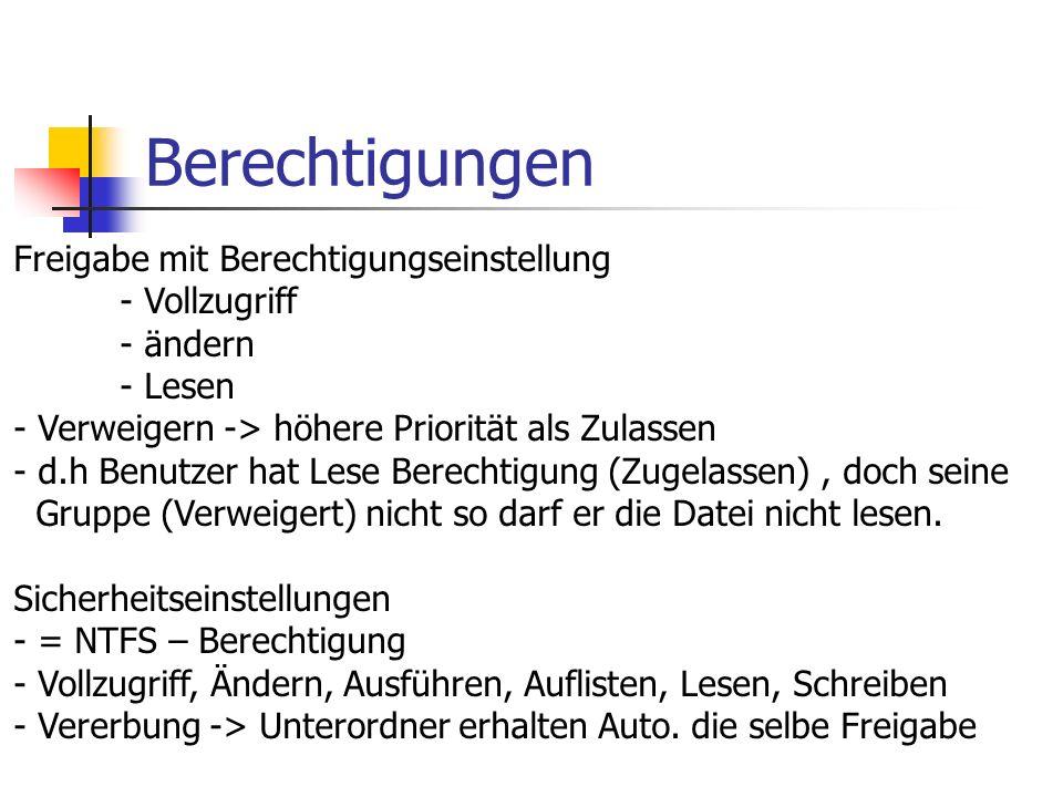 Berechtigungen Freigabe mit Berechtigungseinstellung - Vollzugriff - ändern - Lesen - Verweigern -> höhere Priorität als Zulassen - d.h Benutzer hat L