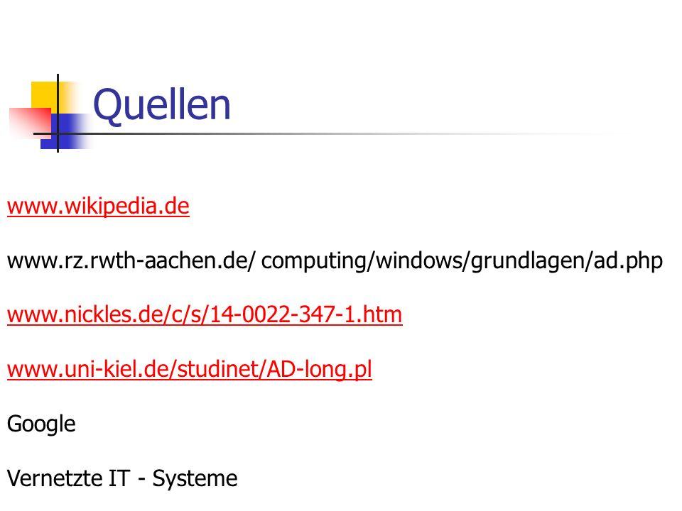 Quellen www.wikipedia.de www.rz.rwth-aachen.de/ computing/windows/grundlagen/ad.php www.nickles.de/c/s/14-0022-347-1.htm www.uni-kiel.de/studinet/AD-l