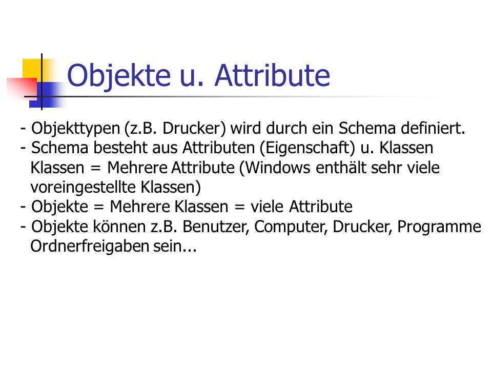 Objekte u. Attribute - Objekttypen (z.B. Drucker) wird durch ein Schema definiert. - Schema besteht aus Attributen (Eigenschaft) u. Klassen Klassen =