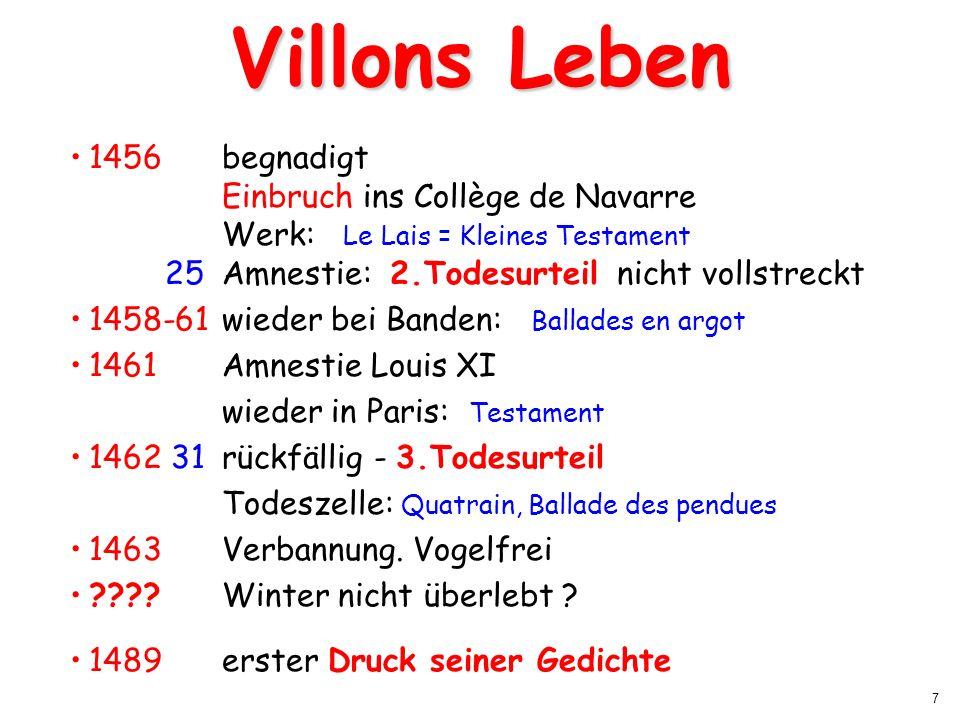 7 Villons Leben 1456 begnadigt Einbruch ins Collège de Navarre Werk: Le Lais = Kleines Testament 25Amnestie: 2.Todesurteil nicht vollstreckt 1458-61wi