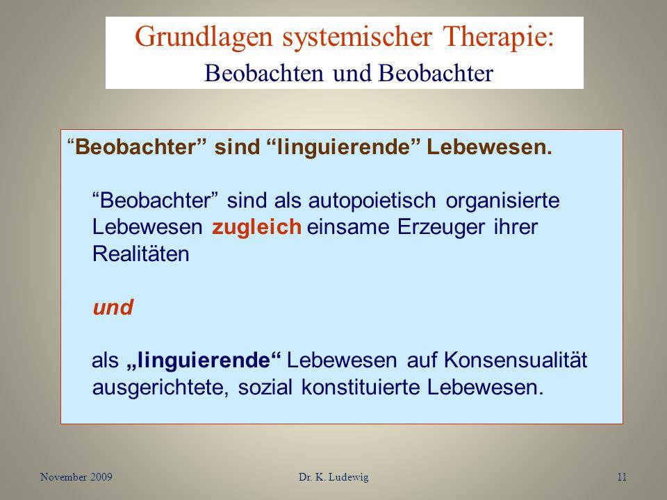 November 2009Dr. K. Ludewig11 Beobachter sind linguierende Lebewesen. Beobachter sind als autopoietisch organisierte Lebewesen zugleich einsame Erzeug