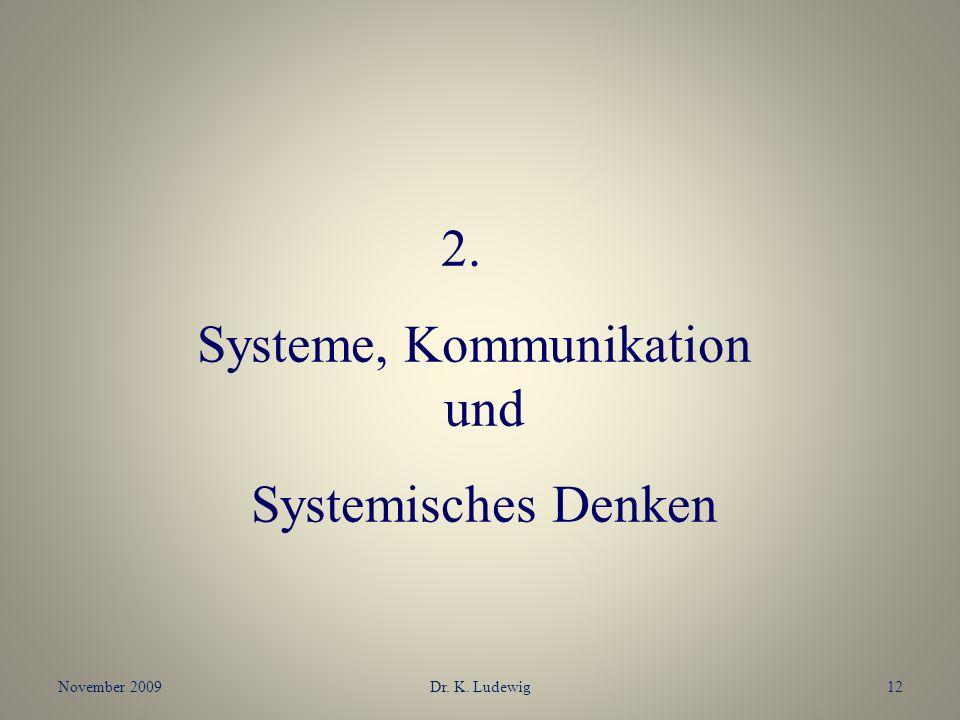 November 2009Dr. K. Ludewig12 2. Systeme, Kommunikation und Systemisches Denken