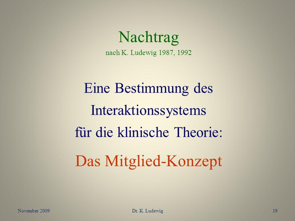 November 2009Dr. K. Ludewig19 Nachtrag nach K. Ludewig 1987, 1992 Eine Bestimmung des Interaktionssystems für die klinische Theorie: Das Mitglied-Konz