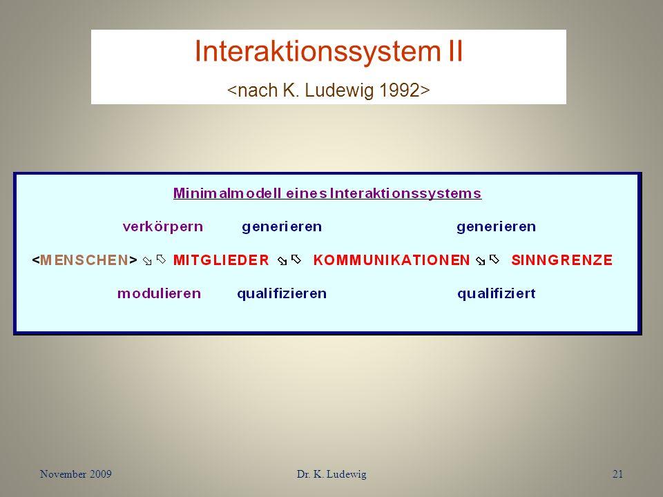 November 2009Dr. K. Ludewig21 Interaktionssystem II