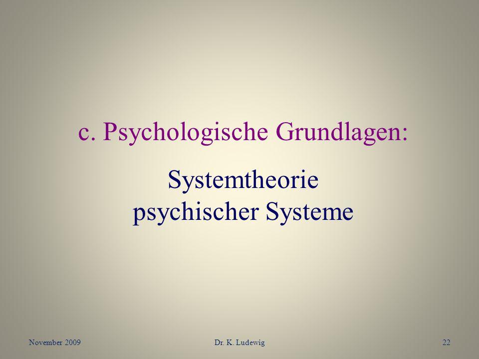 November 2009Dr. K. Ludewig22 c. Psychologische Grundlagen: Systemtheorie psychischer Systeme