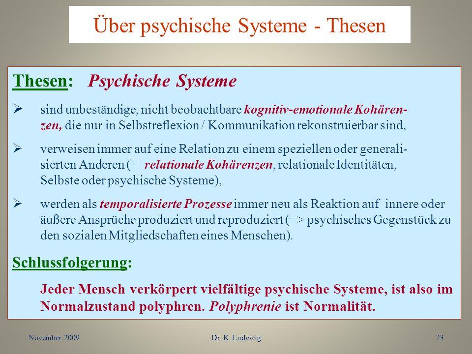 November 2009Dr. K. Ludewig23 Thesen: Psychische Systeme sind unbeständige, nicht beobachtbare kognitiv-emotionale Kohären- zen, die nur in Selbstrefl