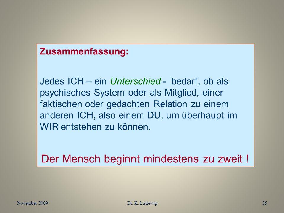November 2009Dr. K. Ludewig25 Zusammenfassung: Jedes ICH – ein Unterschied - bedarf, ob als psychisches System oder als Mitglied, einer faktischen ode