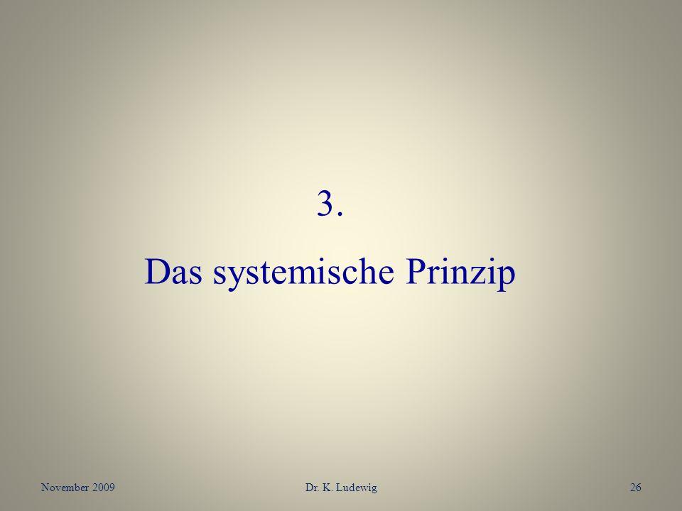 November 2009Dr. K. Ludewig26 3. Das systemische Prinzip
