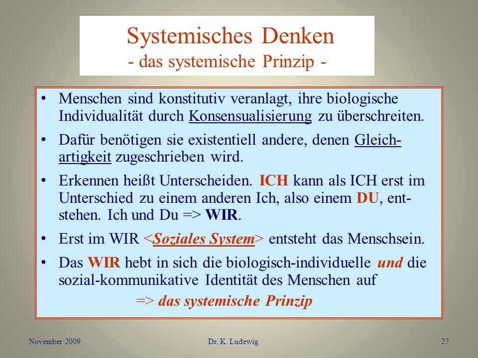 Systemisches Denken - das systemische Prinzip - Menschen sind konstitutiv veranlagt, ihre biologische Individualität durch Konsensualisierung zu übers