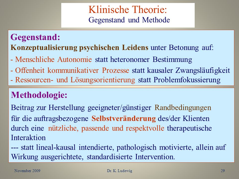 November 2009Dr. K. Ludewig29 Gegenstand: Konzeptualisierung psychischen Leidens unter Betonung auf: - Menschliche Autonomie statt heteronomer Bestimm