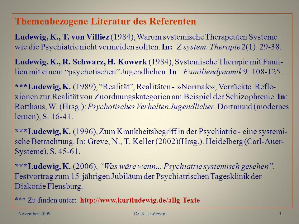 November 2009Dr. K. Ludewig3 Themenbezogene Literatur des Referenten Ludewig, K., T, von Villiez (1984), Warum systemische Therapeuten Systeme wie die