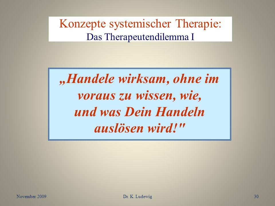 November 2009Dr. K. Ludewig30 Konzepte systemischer Therapie: Das Therapeutendilemma I Handele wirksam, ohne im voraus zu wissen, wie, und was Dein Ha