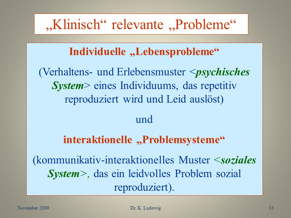 November 2009Dr. K. Ludewig33 Klinisch relevante Probleme Individuelle Lebensprobleme (Verhaltens- und Erlebensmuster eines Individuums, das repetitiv