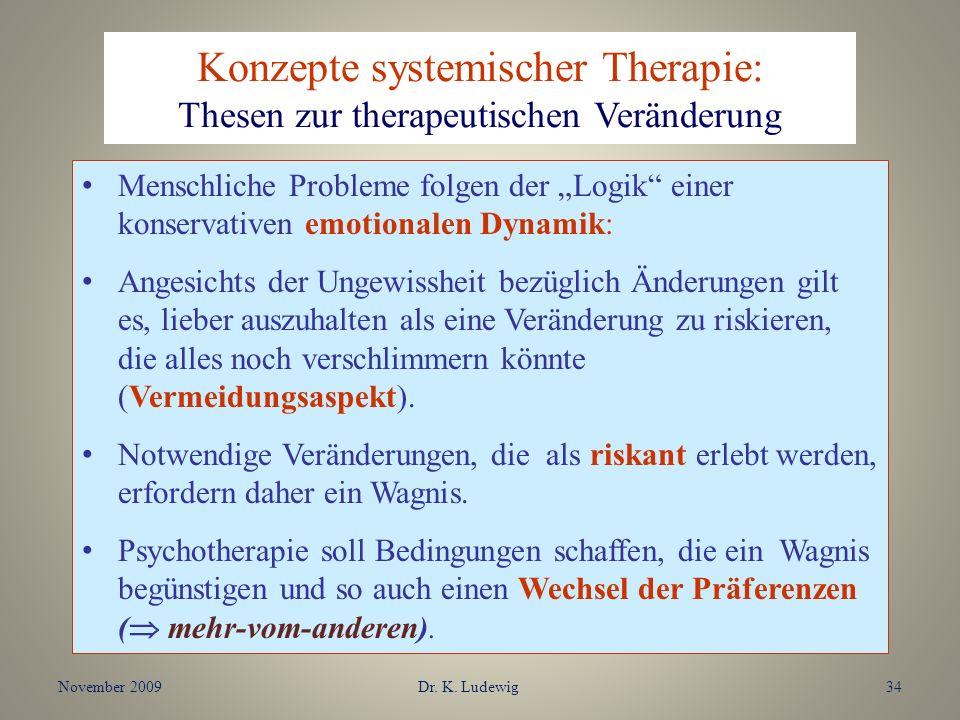 Konzepte systemischer Therapie: Thesen zur therapeutischen Veränderung Menschliche Probleme folgen der Logik einer konservativen emotionalen Dynamik: