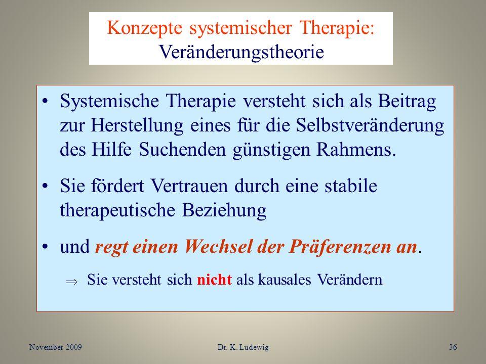 November 2009Dr. K. Ludewig36 Systemische Therapie versteht sich als Beitrag zur Herstellung eines für die Selbstveränderung des Hilfe Suchenden günst