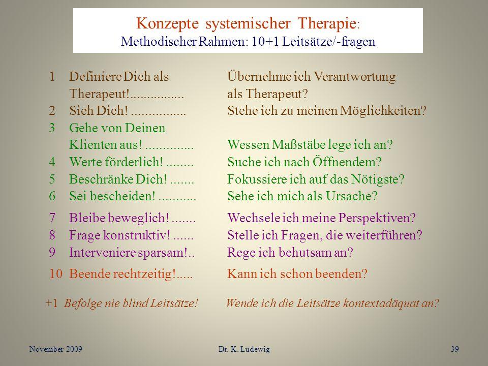 Konzepte systemischer Therapie : Methodischer Rahmen: 10+1 Leitsätze/-fragen 1Definiere Dich als Übernehme ich Verantwortung Therapeut!...............