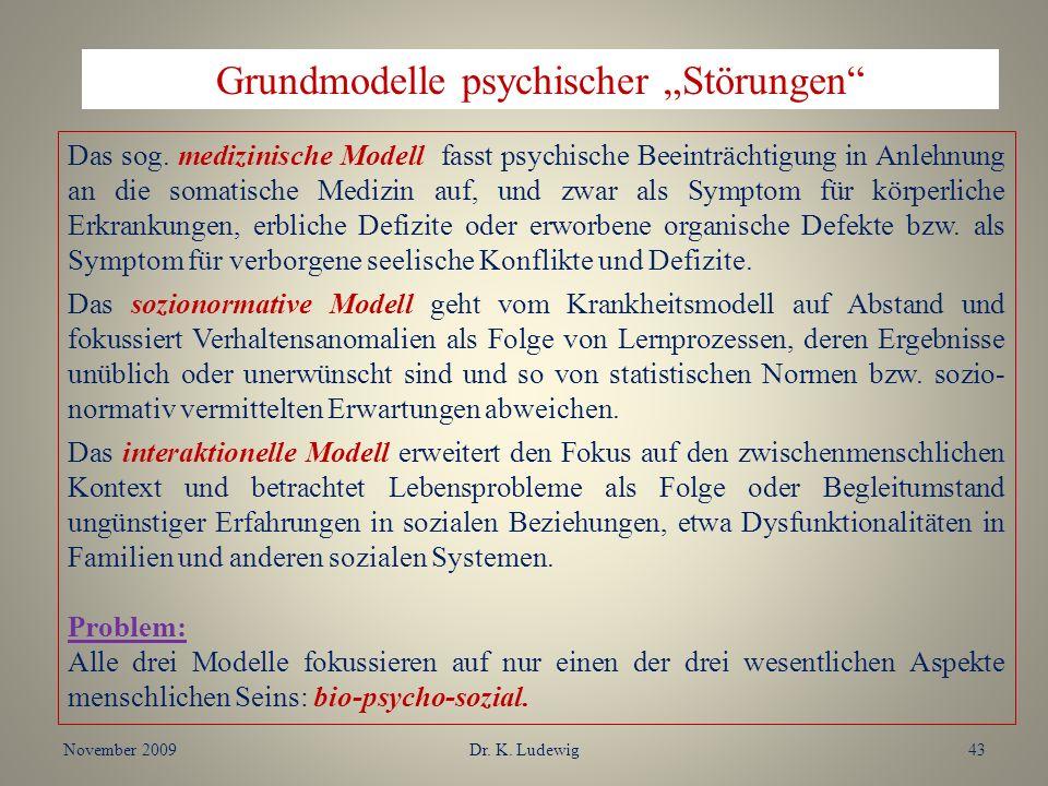 November 2009Dr. K. Ludewig43 Grundmodelle psychischer Störungen Das sog. medizinische Modell fasst psychische Beeinträchtigung in Anlehnung an die so